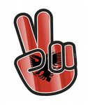Hippy Style PEACE Hand With Albania Albanian Country Flag Motif External Vinyl Car Sticker 90x65mm